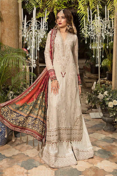 Eid Dress 2019 In Offwhite Gold Color.Work Emballished With Sequance Sevroski And Tilla Threads Embroidery.