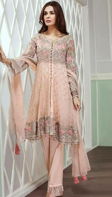 Beautiful chiffon dress by jazmin in baby pink color