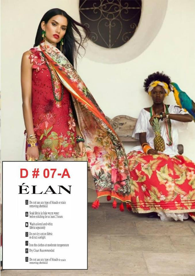 Beutifull lawn dress by elan in red color Model#L 1187