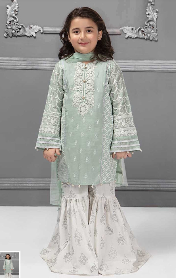 Kids Kurta Gharara In light Green Color.Work Embalished Tilla Threads Embroidery On Sleeves And Neck Line.