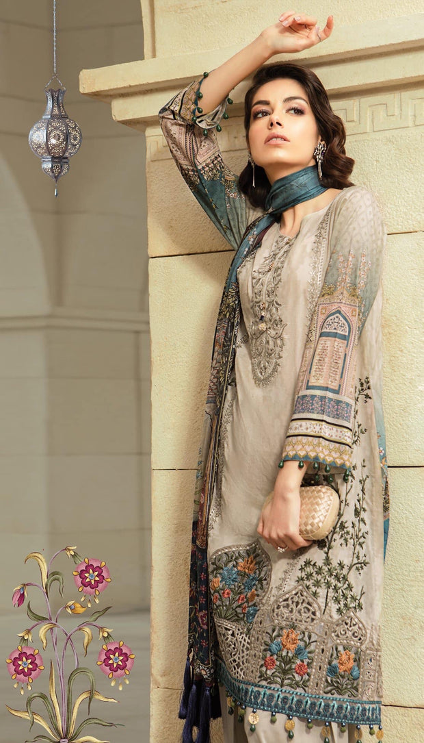 Maria B Stylish Dress In Beutifull Light Gray And Dark Blue Color.Work Embellished With Multi Threads Embroidery And Patches Work.