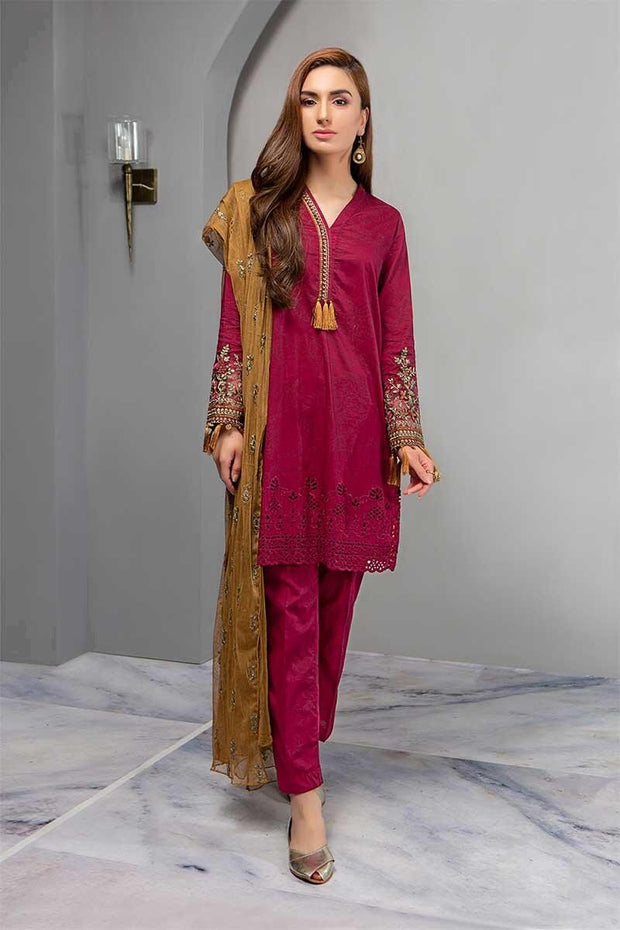 Stylish Home Dress In Maroon Color.Work Emballished With Multi Dhaga Embroidery And Cutwork Daman.
