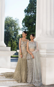 Beautiful embroidered Asian bridal out in alluring gold color # B3346