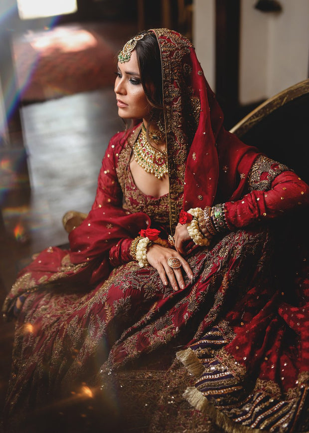 Beautiful angrakha style gharara dress in deep red color # B3334
