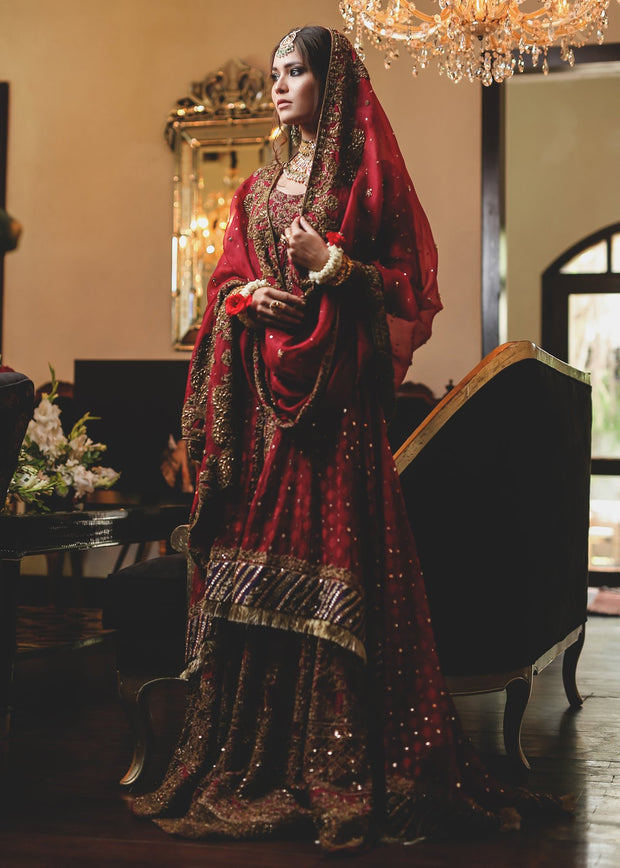 Beautiful anghrakha style gharara dress in deep red color