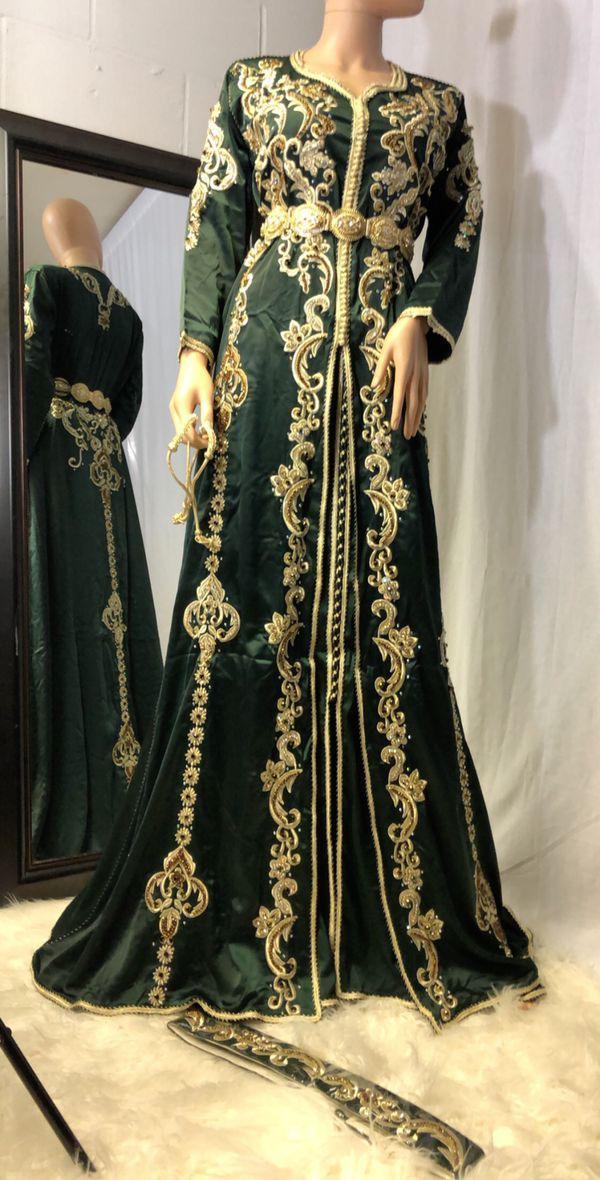 Latest beautiful embroidered Arabic bridal dress in green color