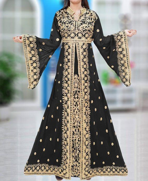 Latest beautiful embroidered Arabic bridal outfit in black color
