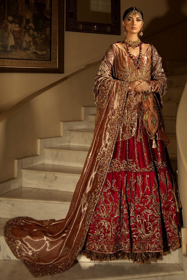 Asian Bridal Lehnga Wear in Red Color