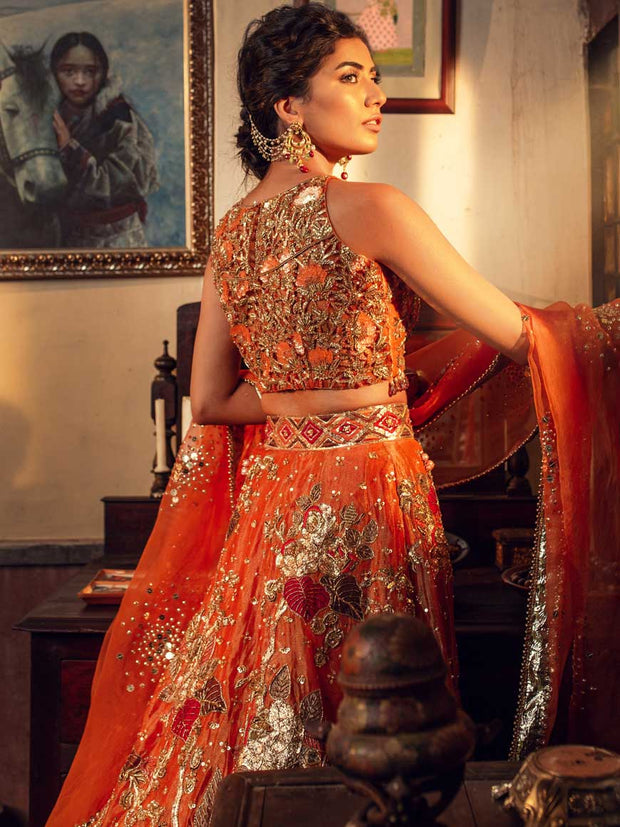Asian Designer Mehndi Bridal Outfit  Backside Look