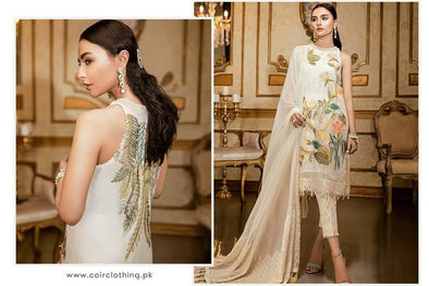 Asian Wear Eid Dress in Offwhite Color Floral Leaves Print