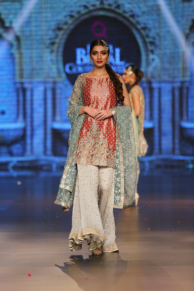 Asian designer embroidered dress in red, blue and white color