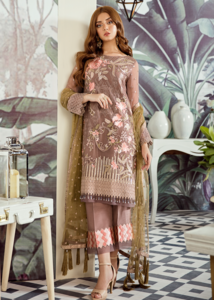Latest Asian embroidered chiffon dress in elegant brown color