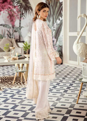 Latest Asian embroidered chiffon outfit in elegant white color