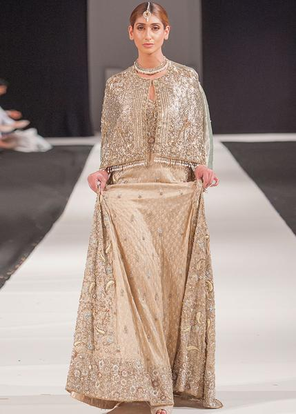 Beautiful Asian embroidered dress in lavish gold color # B3350