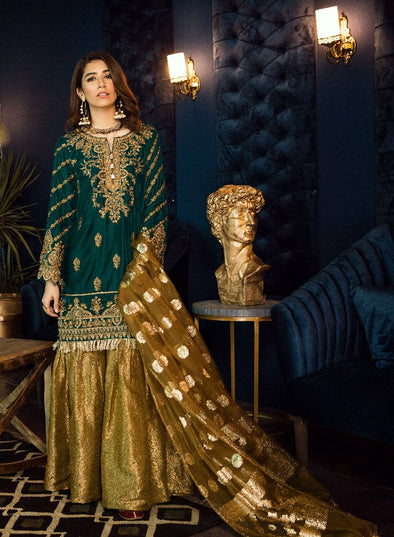 Beautiful Asian embroidered velvet dress in sea green color