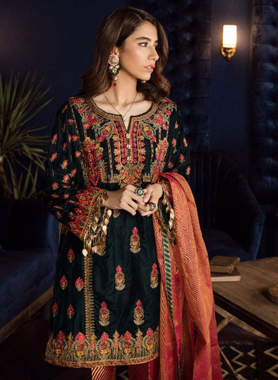 Beautiful Asian embroidered velvet outfit in bottle green color