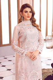 Beautiful designer Asian net embroidered dress in pink color