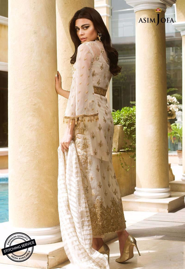 Asian style dress with heavy embroidery in ivory color # P2212