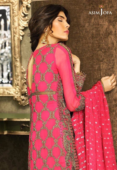 Asim Jofa Chiffon Designer Dress In Shocking Pink Color