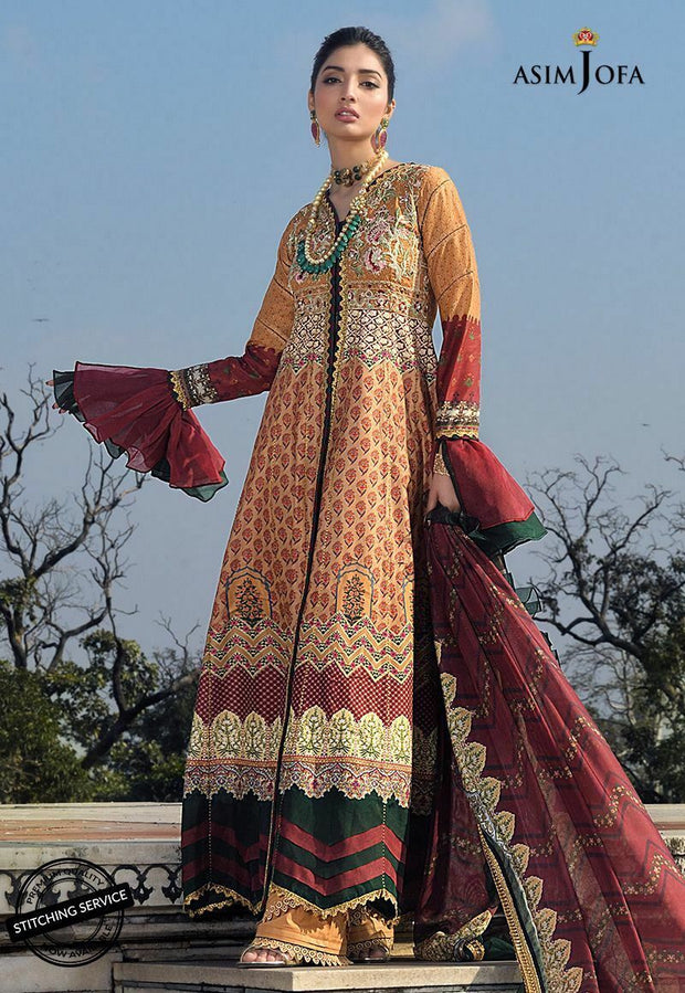 Asim Jofa Embroidered Lawn Dress in Rust Color