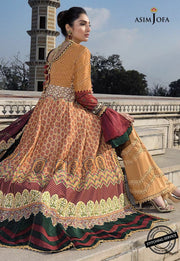 Asim Jofa Embroidered Lawn Dress in Rust Color Backside Look