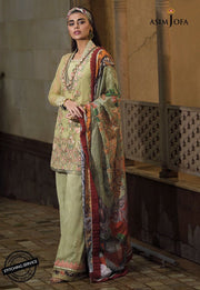 Asim Jofa Lawn Suit in Mint Green Color Close Up