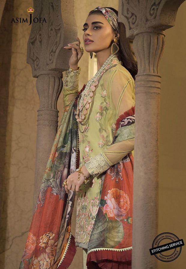 Asim Jofa Lawn Suit in Mint Green Color Side Pose