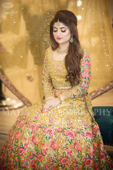 Beutifull bridal Mahndi lahnga in light mehndi color Model# W 1198