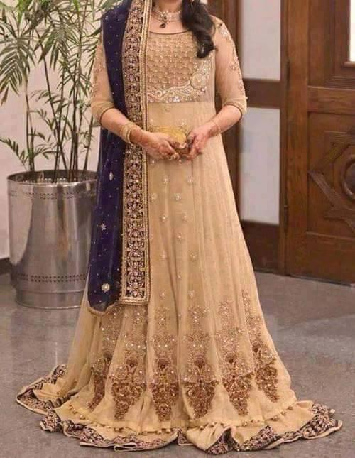 Soft Skin bridal dress with combination of copper and gold