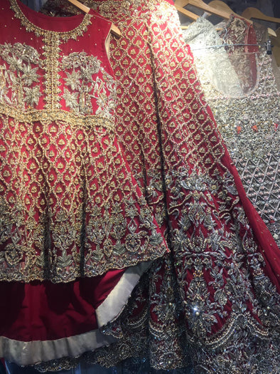 Handwork Deep red Bridal Peplum Lehenga