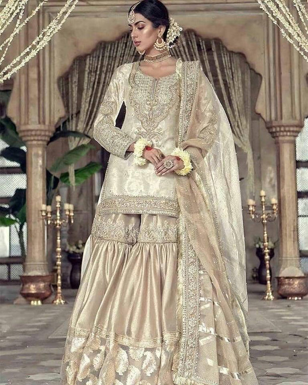 Latest Rich golden and ivory touch bridal wear 2019