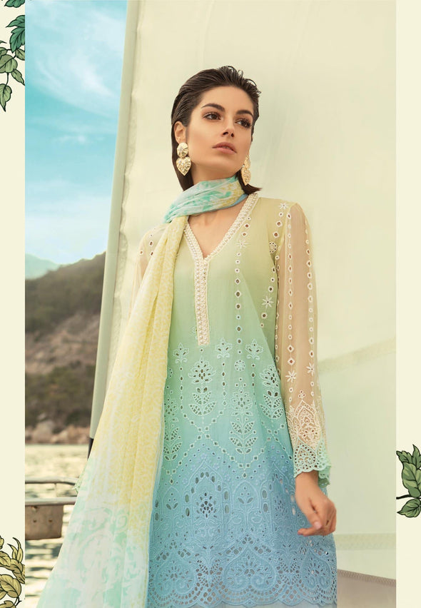 Stylish Pakistani Lawn Dress By Maria B In Beutifull Sky Blue And Lemon Color.Work Embellished With Threads Embroidery And Cutwork Patches.