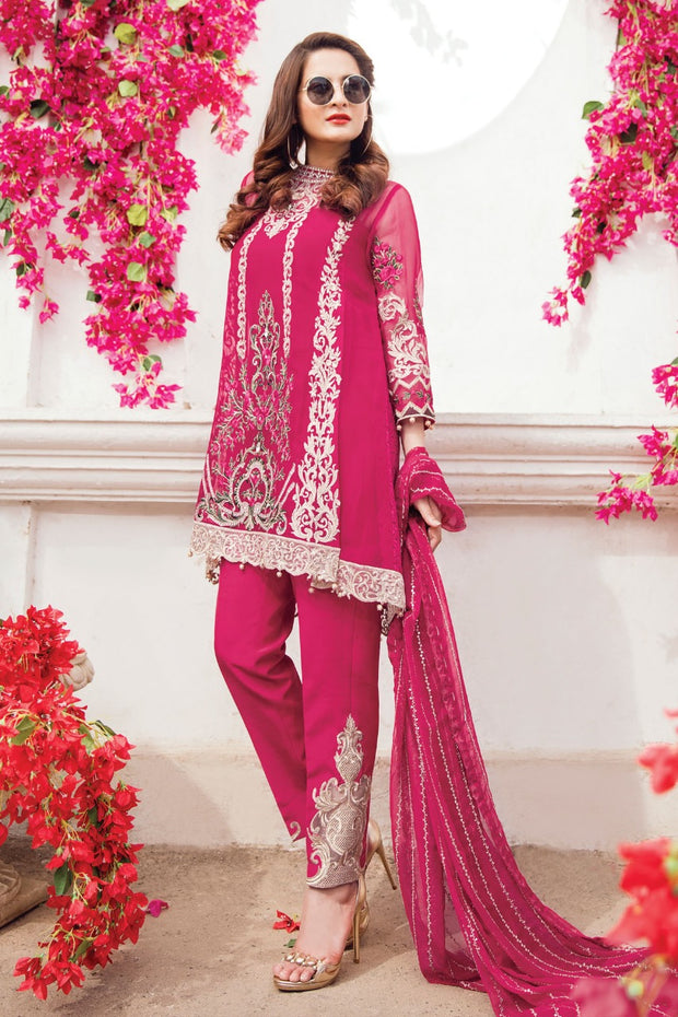 Beautiful chiffon dress in dark shokin pink color by imrozia