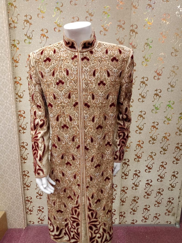 Dulha Sherwani In Offwhite Gold Color.Work  With Full Velvet Appliqué,Zardozi,Dabka & Stone Work. Same Work On Khusa.