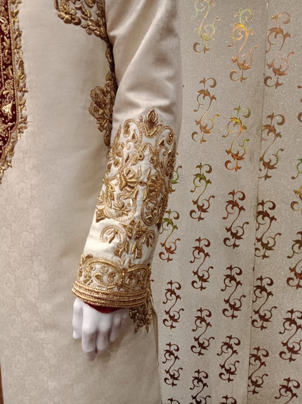 Pakistani Sherwani Royal Look In Off White Color. With  Jama War Cloth.Work Embellished With    Valvet Appliqué,Dabka And Zardozi Work.Royal Look Turban Also Available.