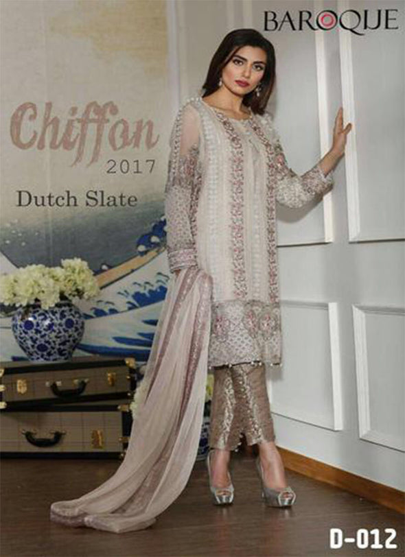 Pakistani designer Barouqe Chiffon Party Dress Model