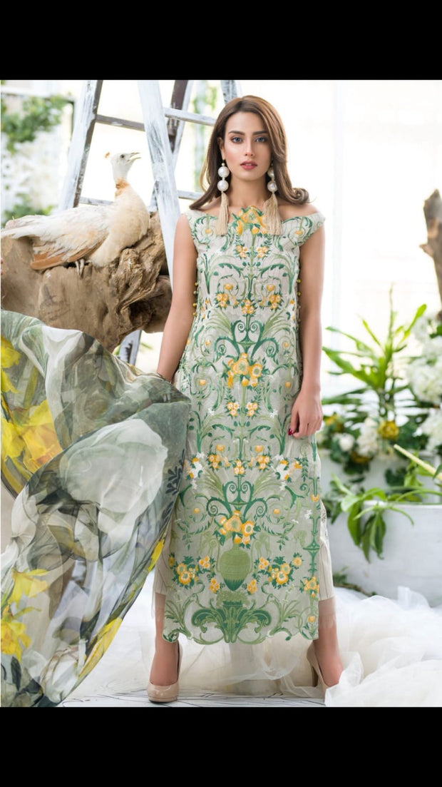 Beutifull lawn dress by Asifa nabeel in pistachio green color Model # L 1228