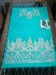 Stylish Wedding Dress In Turquoise Color.Work Embellished With Dabka Nagh Zari Crystal and Stone  Work.