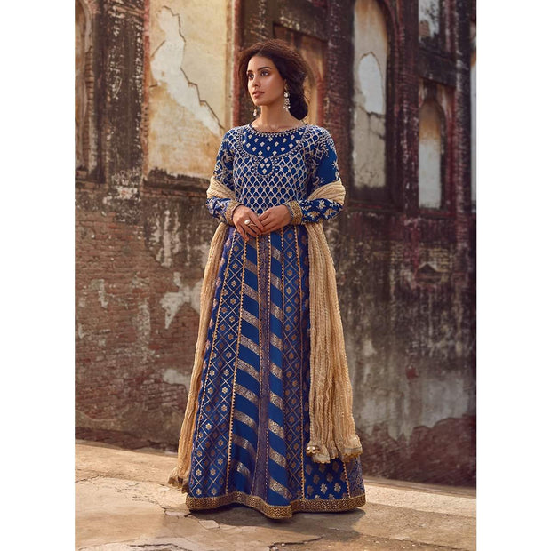 Navy blue Pakistani designer suit boutique