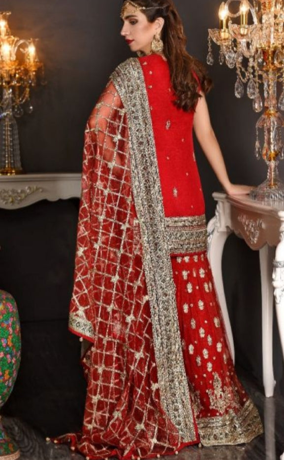 Pakistani Formal Dress of Deep Red Colour 1