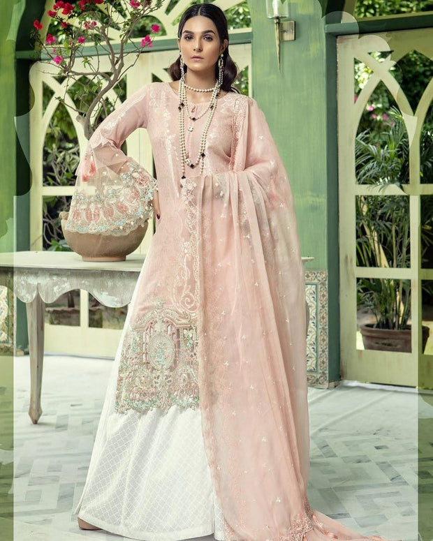 Baby Pink Long Shirt Bell Bottom Sleeves Lawn dress in US