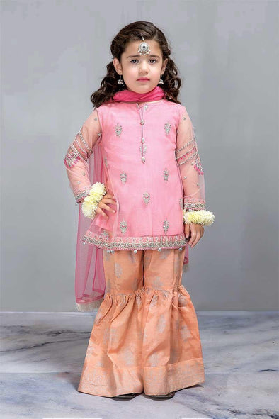 Baby Pink color Chiffon Pamplam Jamawar Gharara Dress for Kids
