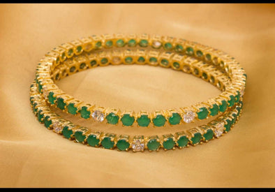 Bangles Set with Green Stones