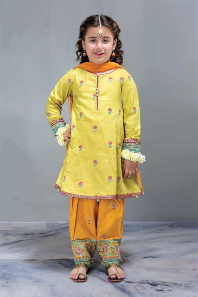 Beautiful Aline Shirt Shalwar Designer Dress in Lemon Yellow for Kids