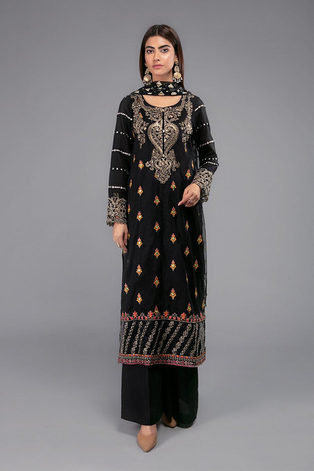 Black Designer Dress for Eid with Embroidery #N9036