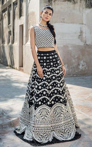 Black Lehnga Choli with White Embroidery