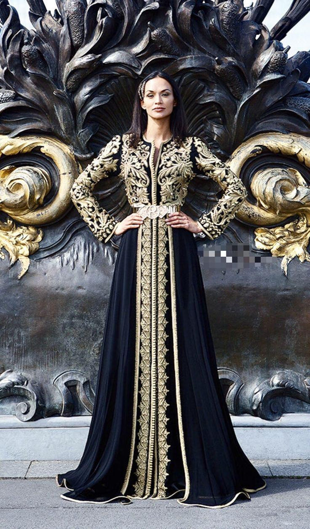 Black Arabic Gown with Embroidery