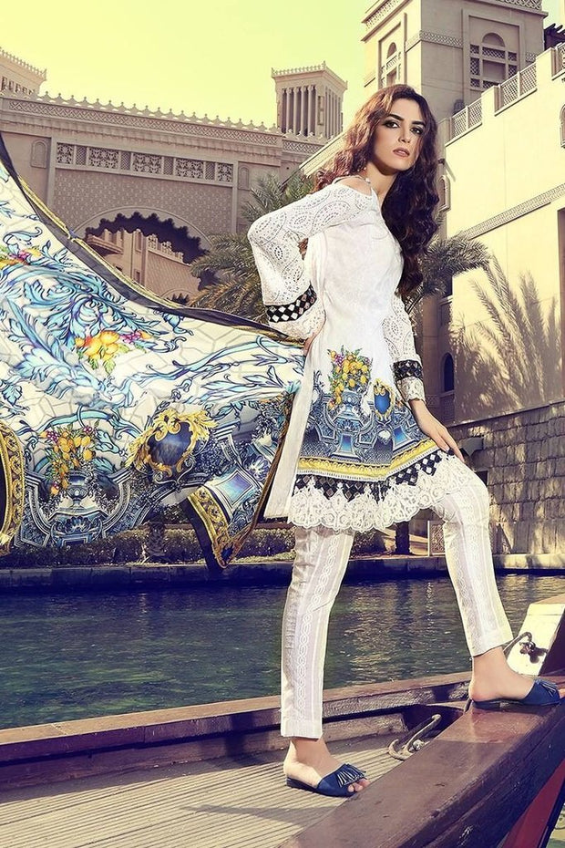 Blue White Printed Designer Lawn Dress with Patch Work