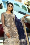 Latest Charcoal chiffon suit with dupatta