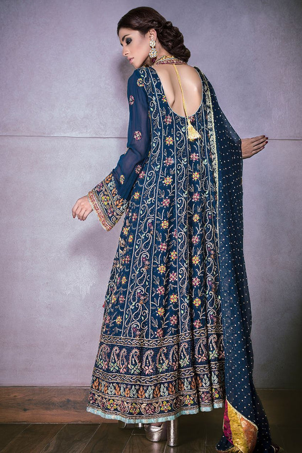 Pakistani blue designer dress for wedding wear # B3310